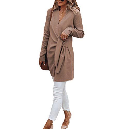 Azastar Damesmantel lang met waterval snit trenchcoat met riem zachte Dufflecoat jas wintermantel wollen mantel elegante lange mantel