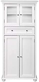 Bathroom Linen Storage Cabinet with Recessed-Panel Design, White