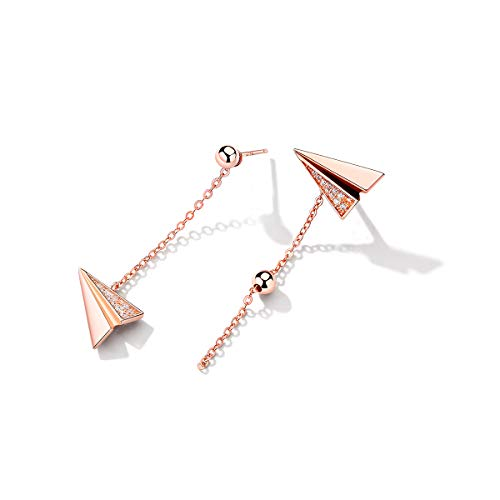 Deer Studs Earrings for Women Gift, Rose Gold Asymmetry Dangling Dangle Earring, Sterling Silver Hypoallergenic for Sensitive Ears, 5A Cubic Zirconium Sapphire Birthstone Jewelry