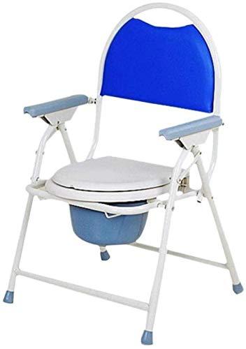 GUOZ Tragbare Camping WC-Stuhl Kommode Duschstuhl mit WC-Art-Sitz und Deckel - Stahlrahmen - Max Tragfähigkeit 150kg - Keine Notwendigkeit Installations