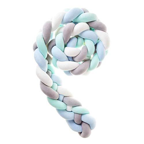 Cuna Cama Parachoques Trenza Almohada Decoraciones De Vivero Trenzado Parachoques Para Cuna (Longitud: M: 2,2 M (86,6 Pulg.) L: 3,6 M (141,7 Pulg.)) ( Color : White+Gray+Blue+Green , Size : 220CM )