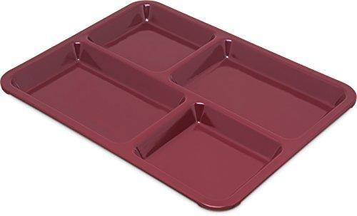 Carlisle KL44485 Right-Hand Heavy Weight 4-Compartment Café Tray, Melamine, Dark Cranberry
