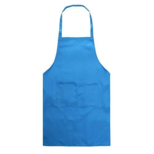 Huien 1 stuks schort restaurant keukenschort met zakken voor bakken koken wassen cheaning tools huis keuken accessoires, blauw, xxl