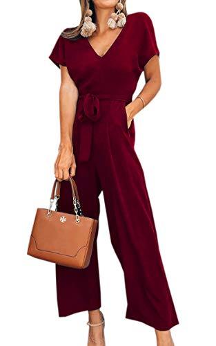 Spec4Y Damen Sommer Lang Jumpsuit V-Ausschnitt Kurzarm Overall Einfarbig Casual Hosenanzug mit Taschen und Gürtel Weinrot XL