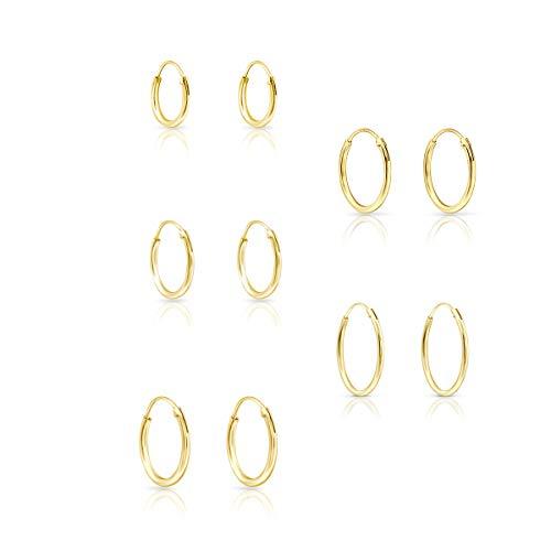 DTP Silver - Conjunto de 5 pares de Pendientes de Aro - Plata 925 Plateada en Oro Amarillo - Espesor 1.2 mm, Diámetro 10, 12, 14, 16, 18 mm