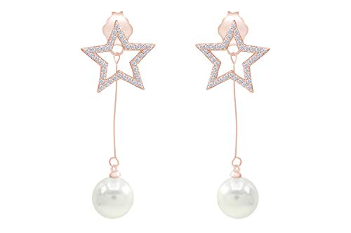 14k Rose Gold Plated Sterling Silver Post Star Shell Pearl Drop Earrings (9mm) Pearl Earrings for Women