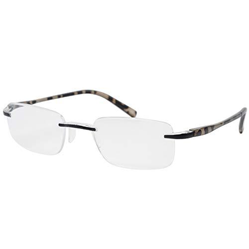 藤田光学 老眼鏡 メンズ 1.5 度数 ふちなし マットブラック デミ TP-20 +1.50