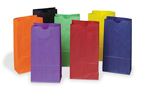 Lot de 28 sacs kraft arc-en-ciel - Couleurs vives assorties