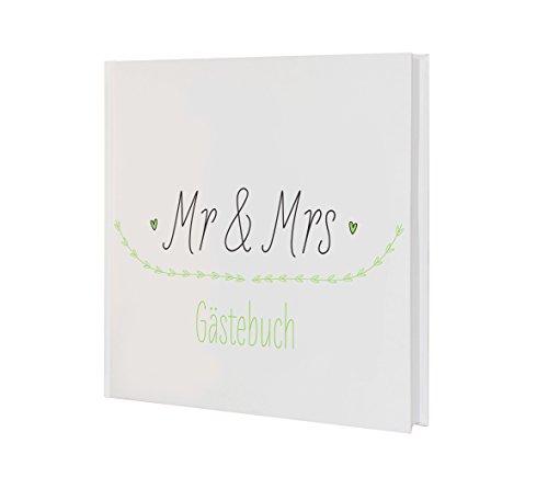 Gästebuch Hochzeit Natural Wedding Grün Weiß modernes Gästebuch mit Mr & Mrs Schriftzug Boho