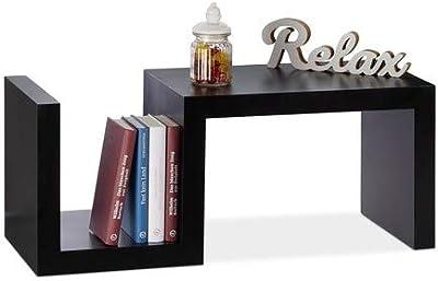 Relaxdays Étagère design rétro vertical horizontal 3 surfaces 30 cm uni rangement déco HxlxP: 75 x 30 x 30 cm, noir