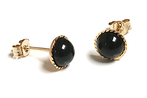 9ct Gold Black Onyx Button Stud earrings