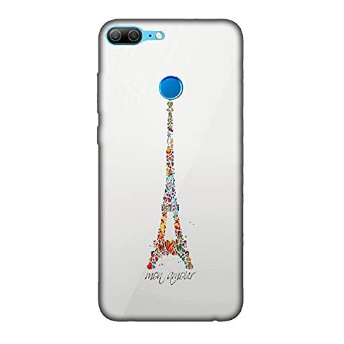 Funda 9 Lite Carcasa Compatible con Honor 9 Lite Torre Eiffel mi Amor (745) / TPU Suave Gel de Silicona/Teléfono Hard Snap en Antideslizante Antideslizante Anti-rasguño Resistente a los Golpes TPU
