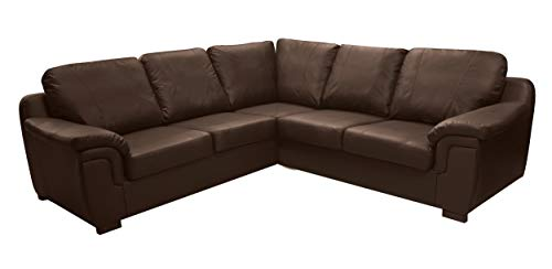 Dallas Chocolate Brown PU Leather Large corner Group Sofa Suite