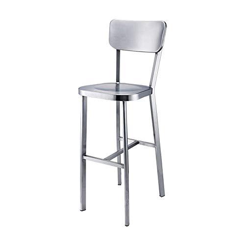 HYY-YY Silla de acero inoxidable taburete de barra respaldo alto taburete de la barra de metal Mesa de comedor heces Traje for las barras de encimeras de cocina bares (Color: plata, tamaño: 48X37X110C