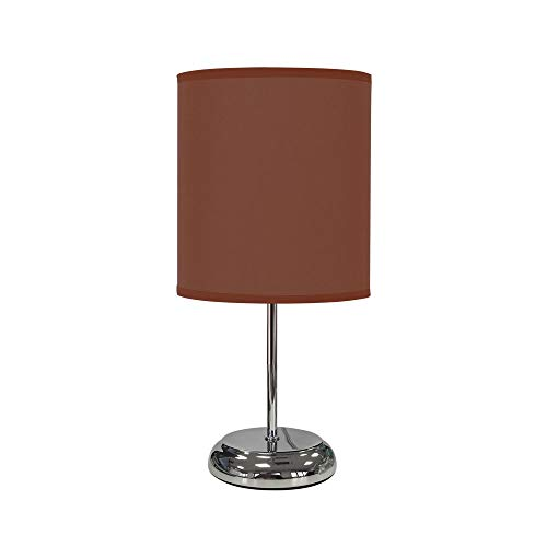 TODOLAMPARA - Lámpara de mesa de tela modelo Nicole marrón chocolate