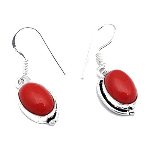 PENDIENTE DE CORAL rojo de 1,5 'de largo, chapado en plata de ley, joyería artística hecha a mano, tienda de variedad completa