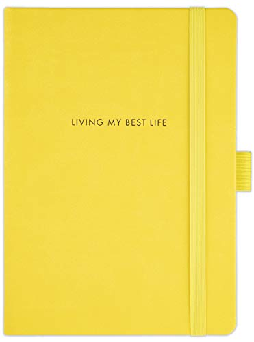 TDP Journal Notebook, Dotted, A5, Vegan Leather Hardcover, 120gsm, 183 Numbered Pages, Pen Holder, Back Pocket - Living My Best Life, Yellow