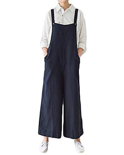 VONDA Damen Latzhose Baggy Jumpsuit Weites Bein Overalls Lang Playsuit Mit Tasche B-Marine XL