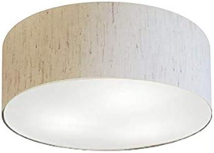 Plafon Cilíndrico Cúpula Tecido 40x12 cm, Vivare Iluminação, Plafon3005 LLA-35, Linho Bege, Médio