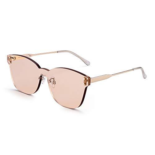 JIM HALO Una Pieza Sin Marco Montura Gafas de Sol Mujer Lente Transprente Caramelo Color Teñido Leonado Ligero