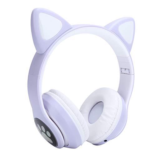 214 Auriculares Bluetooth, Auriculares estéreo de música con luz LED Auriculares inalámbricos con Forma de Oreja de Gato Lindos Auriculares BT 5.0 con Cable de Audio de 3,5 mm para jóvenes(púrpura)