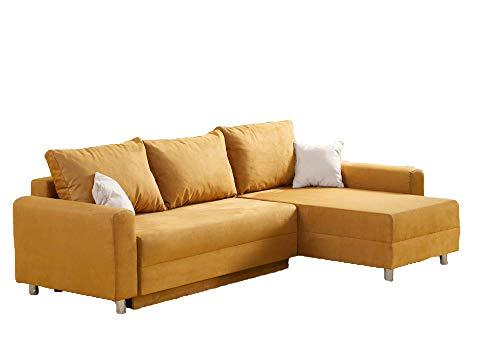 lifestyle4living Ecksofa mit Schlaffunktion und Bettkasten in Gelb | L-Sofa mit gemütlichen Rückenkissen und Stauraum | Ottomane Links oder rechts montierbar