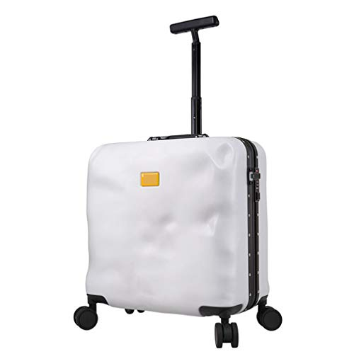 BBXW Expandable Luggage Suitcase,Lightweight Luggage With Spinner Wheels,Hardside Carry-on Suitcase,Mini Rolling Laptop Case Bag White Aluminum Frame 42x23.5x41cm