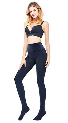 Generico set 2 pezzi calzamaglia donna calze collant termiche invernale 240D felpate, vita alta sotto seno in flanella (55-70kg/L)