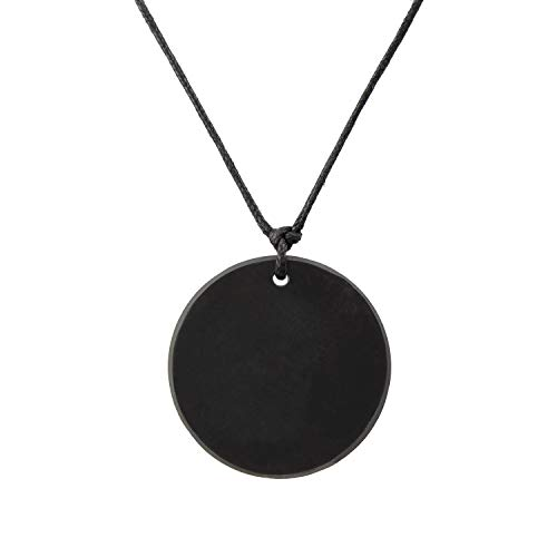 Heka Naturals Shungite Pendant Necklace, Circle EMF Protection Pendant | Shungite Jwelry is Trendy and Used for Chakra and Energy Balancing | Circle