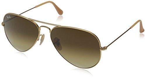 Ray-Ban Aviator Metal - Gafas de sol unisex, color matte gold / brown gradient (112/85), talla medium