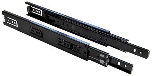 Gedotec Schubladen-Auszug 700 mm Teleskopschiene seitliche Montage - KTS-PRO | Vollauszug für Holz-Schubkästen | Metall schwarz matt | Tragkraft 30 kg | 1 Paar - Schubladenschiene für Küchen-Schränke