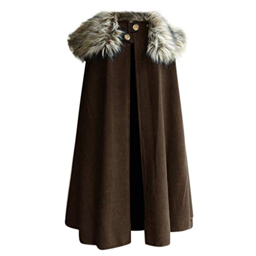 Battnot-Herren Winterjacke Gothic Umhang Vintage Wolle Cape Coat Pelzkragen Oversize Mäntel, Männer Outwear Retro Festlich Cosplay Uniform Kostüm Party Große Größen Parka Mens Overcoat S-XXXL 3XL