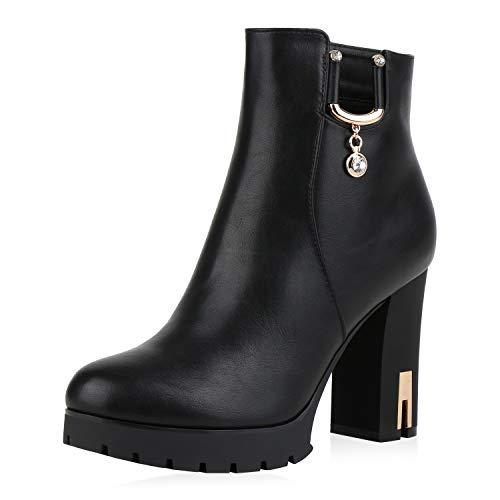 SCARPE VITA Damen Stiefeletten Boots Leicht Gefütterte High Heels Leder-Optik Schuhe Strass Kette Booties Absatzschuhe 185870 Schwarz Gold 37