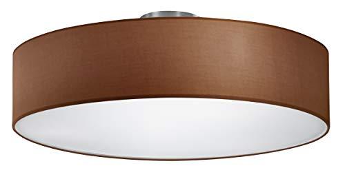 Trio Leuchten Plafondlamp, Stoffen Kap, 3 x E27 Fitting, Mat Bruin