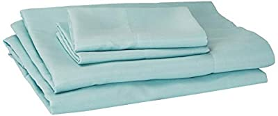 """Comfort Spaces CS20-0116 Microfiber Set 14"""" Deep Pocket, Wrinkle Resistant All Around Elastic-Year-Round Cozy Bedding Sheet, Matching Pillow Cases, Twin, Aqua"""