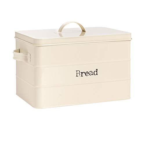Harbour Housewares Industrial Bread Bin - Vintage Style Steel Kitchen Storage Caddy with Lid - Cream