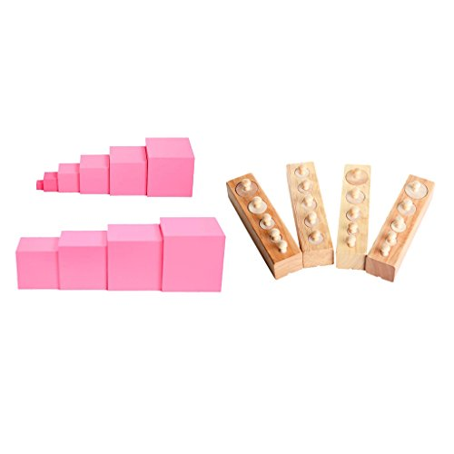 Baoblaze 2 Juegos de Juguetes Sensoriales Montessori Torre Rosa + Bloques de Cilindro Juego Familiar Juguetes Educativos Regalos
