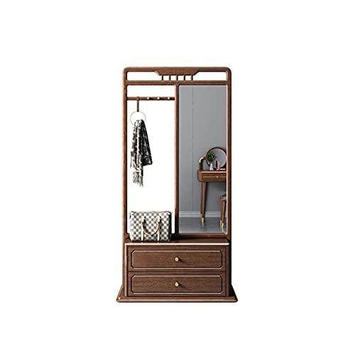 Perchero Talladora de entrada de entrada 3 en 1, espejo de longitud completa, muebles de madera con 2 cajones, sala de estar, dormitorio, armario, tocador Estante organizador de ropa independiente