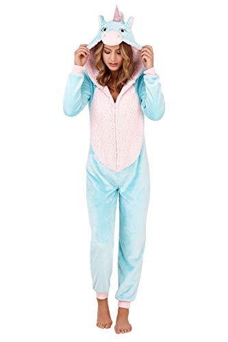 Damen-Schlafanzug, Tiermotiv, weiches Fleece, Einteiler Gr. 48/50 DE X-Large , Einhorn in Aqua/Blau