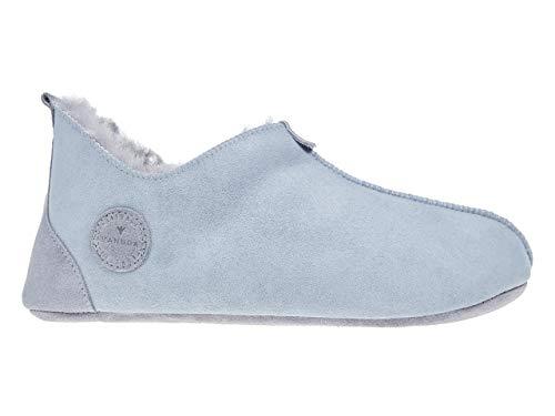 Vanuba Zapatillas de estar por casa para hombre Oxford en tallas 41-47 y 2 colores, hechas a mano de auténtica piel de cordero, color Gris, talla 47 EU