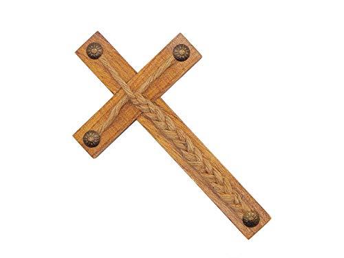 "Wood Rustic Cross Jesus Wall Art Religious Decor Gods Jute Cords 8"" X 4"""