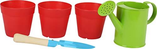 Small Foot 12016 Set de Plantes et Jardin en Bois et Métal avec 3 Pots réutilisables Multicolore