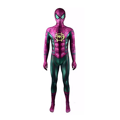 Cosplay Spiderman Miles Morales Combinaison Enfants Jeu Robe Soirée Halloween Body Collants Zentai Vêtements Anime Film Costume Fantaisie Justaucorps Onesies,Purple-L Men(165~170CM)
