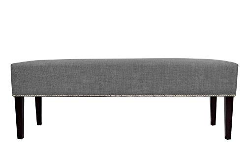 MJL Furniture Designs Roxanne Collection Padded Upholstered Bedroom Accent Bench, HJM100 Series, Dark Gray