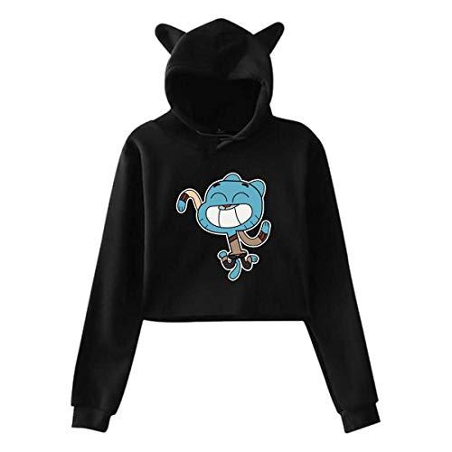 Yanmai Anime The Amazing World of Gumball Hoodie mit Mütze Katzenohren Langarm Fashion Woman