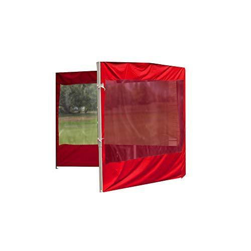POHOVE Carpa de jardín Gazebo Carpa con Paneles de Lluvia y Viento, Accesorios de Carpa para Exteriores, Reemplazo de Tela Oxford Impermeable Anti UV, 3 * 3 m (Rojo 6 m, Solo 2 Lados)