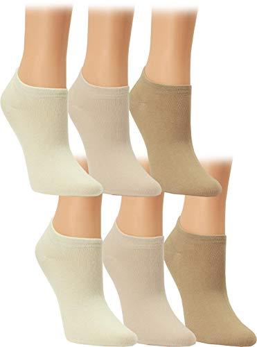 Vitasox Calcetines tobilleros de señora 15230 de algodón sin costura unicolor, invisibles, lote de 6, tonos naturales claros, 39/42