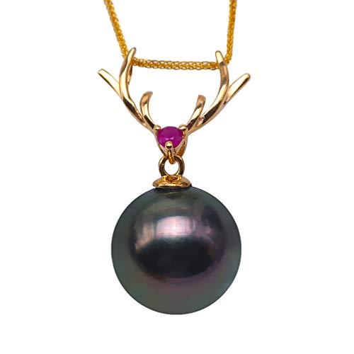 JYX Pearl 18K gouden gesp zwarte Tahitian parel hanger 10,5 mm ronde zout water parel ketting