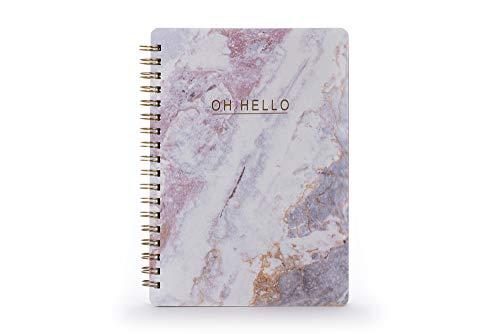 """Tri-Coastal Design – Quaderno Rilegato a Spirale con Copertina Rigida Realizzato con Materiali Riciclati con Scritta sulla Copertina""""Oh Hello"""" (Pink Marble)"""