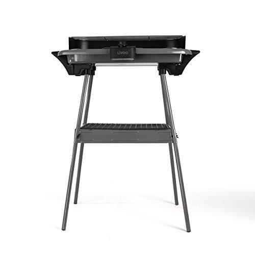 LIVOO Feel good moments - Griglia barbecue con piedi DOM297 Grigio